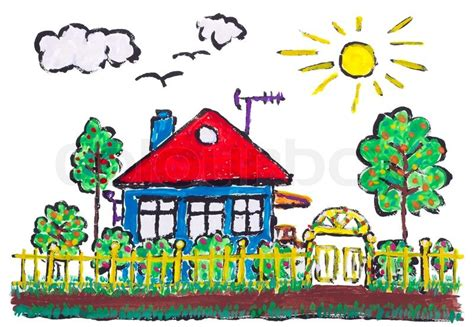 Residential House Plans by Painted Village Home Landscape Children Drawing Stock