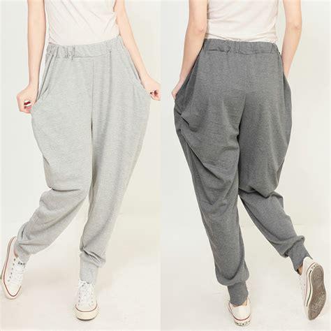 Girls Gray And Black Joggers Pants | 2014 spring new fashion women s casual jogger pants gray