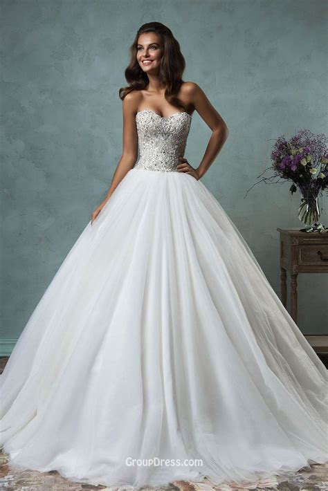 strapless sweetheart sparkly beaded tulle ball gown