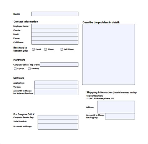 it service request form template sle computer service request form 12 free
