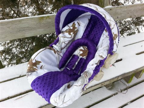 snow camo car seat covers camo infant car seat cover realtree snow fabric and purple