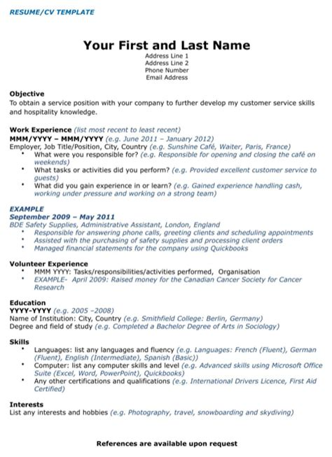 canadian resume templates canada cv template for free formtemplate