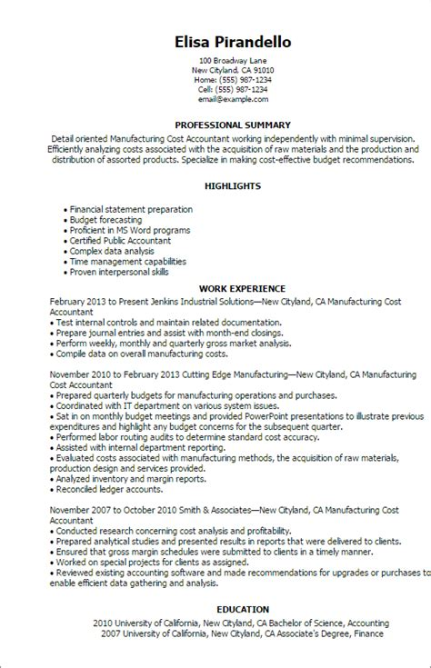 sle of cpa resume professional manufacturing cost accountant templates to