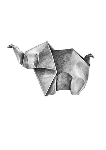 Origami Drawing - origami elephant shape and pencil drawings on