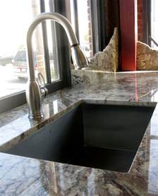 Custom Corian Countertops Granite Typhoon Bordeaux With Undermount Sink In Showroom
