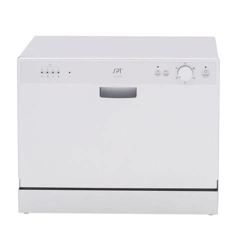 Spt Countertop Dishwasher Silver spt countertop dishwasher in silver with 6 wash cycles and
