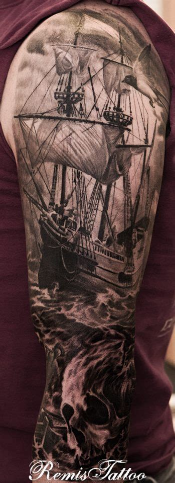 ship tattoo black and grey tall ships skull tattoo black and grey by remistattoo on