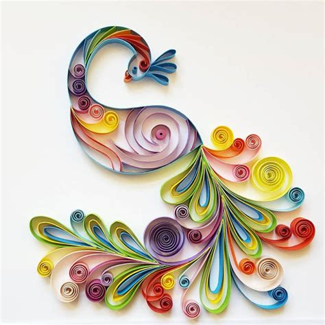 design using art paper quilled paper art colourful peacock handmade