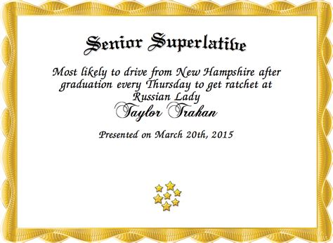 superlative certificate template senior superlative certificate created with