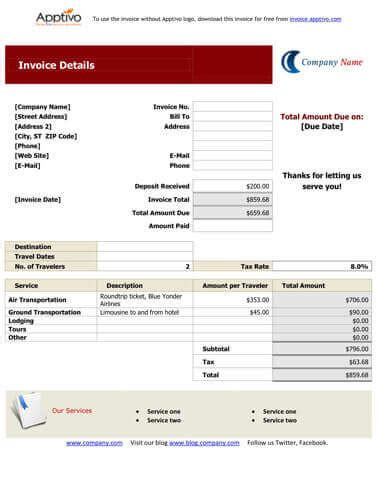 format invoice travel booking form empty templates calendar template 2016