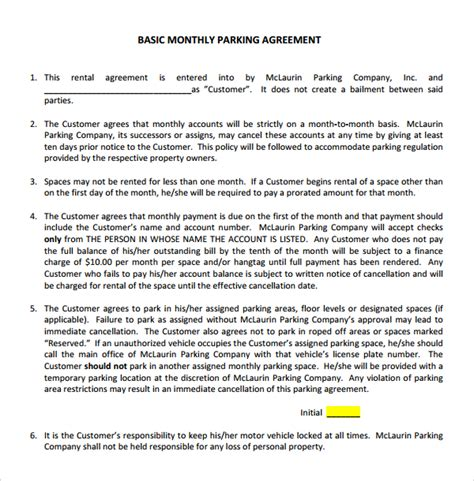 Sle Parking Agreement Template 9 Free Documents In Pdf Word Car Parking Agreement Template