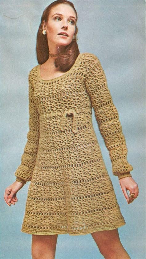 vintage  empire dress  scoop neck crochet pattern