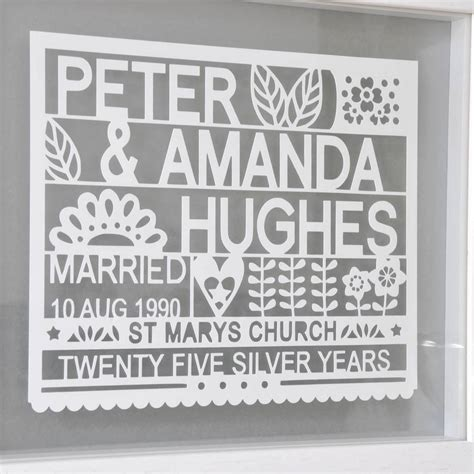 Wedding Anniversary Ideas Uk by Personalised 25th Silver Wedding Anniversary Gift By Ant