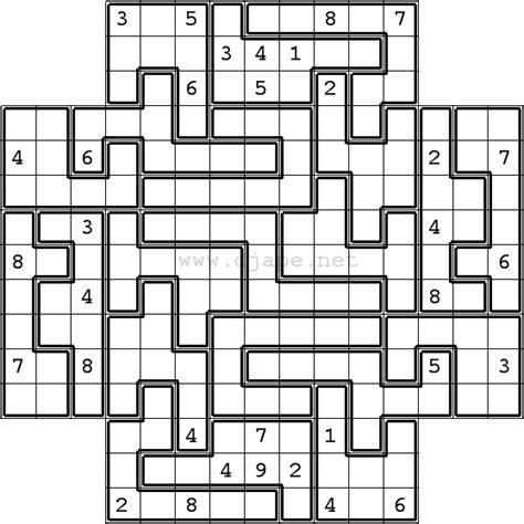 printable diagonal sudoku jigsaw sudoku in flower sudoku format 5 in 1 gattai 5