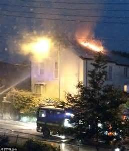 lightning hits house devon firefighters save house after lightning strike sparked huge blaze daily mail