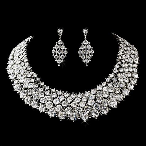 rhodium clear rhinestone modern jewelry set