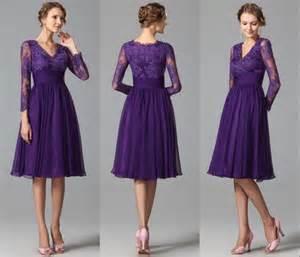 Long Sleeves Purple Bridesmaids Dresses 2015 A Line V Neck Vintage Lace Short Bridesmaids