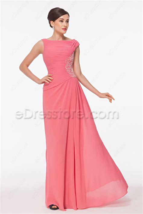 boat neck communion dress modest boat neck beaded pink prom dresses