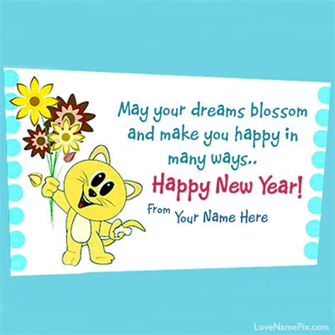 write name on cute new year wishes card picture