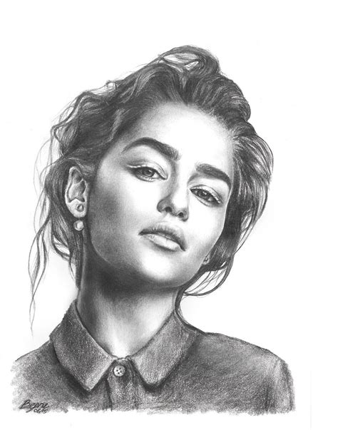 pencil sketch portrait artists emelia clarke pencil portrait by xbooshbabyx on deviantart