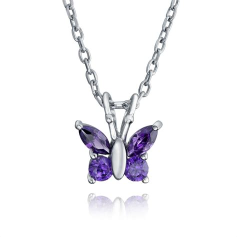 amethyst color cz butterfly childrens necklace 18in