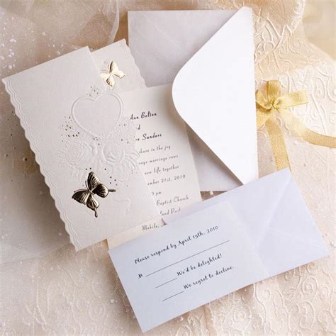wedding invitation kits ivory butterfly deco tri fold affordable
