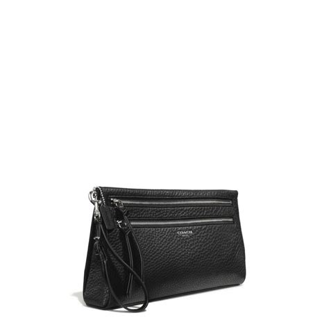 couch clutch coach bleecker large clutch in pebbled leather in black