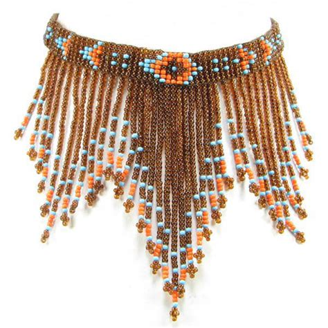 beaded chokers eagle spirit american store quot brown beaded fringe