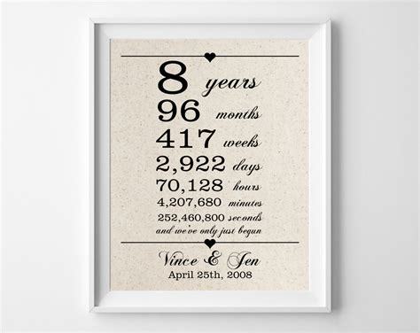 Wedding Anniversary Gift Ideas 9 Years by 8 Years Together Cotton Gift Print 8th Anniversary Gifts
