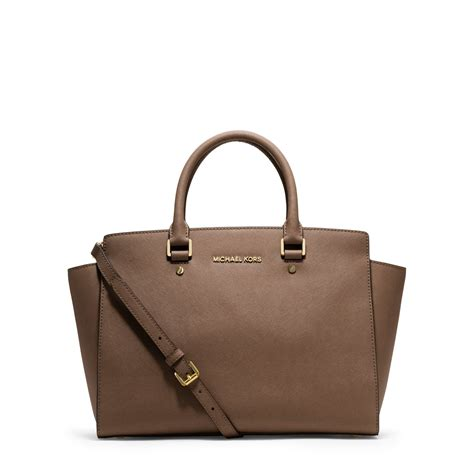Michael Kors michael kors selma large saffiano leather satchel in brown dune lyst