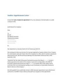 Appointment Letter Sample For Hr Executive Auditor Appointment Letter