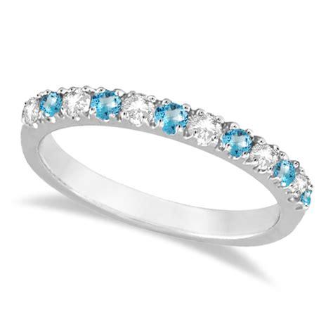 diamond blue topaz ring anniversary band  white gold