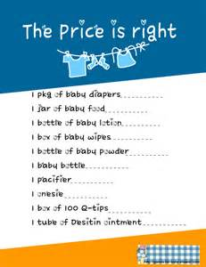 free printable price is right for baby shower