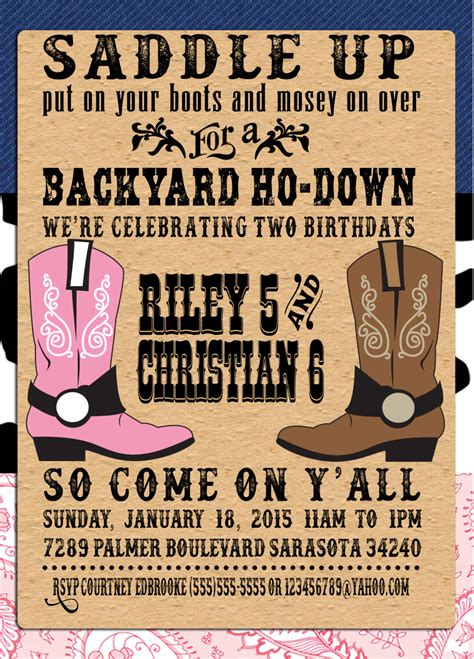 western birthday card template printable backyard ho invitations printable