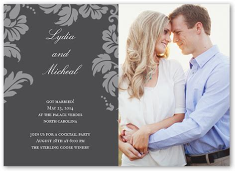 Wedding Announcement Cards by Floret Charcoal 5x7 Photo Wedding Announcement Cards