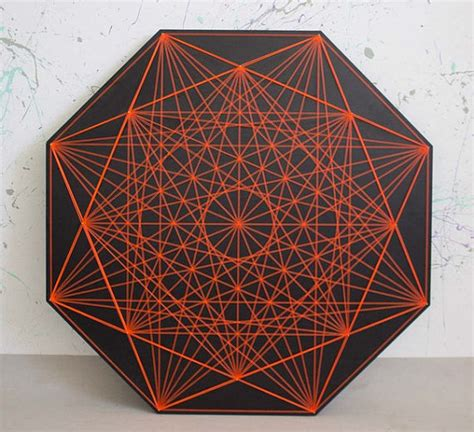 3d String Patterns - chrysanthemum string sacred geometry zen lack 3d wall