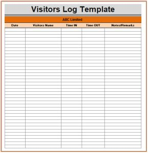 Visitor Log Templates Free Log Templates Visitor Log Template