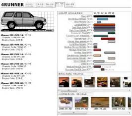 Toyota Codes Toyota 4runner 2nd Color Code Chart Toyota 4runner
