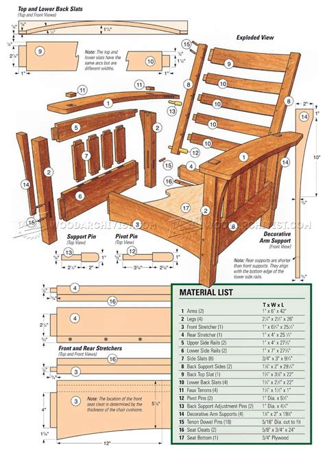 classic morris chair plans woodarchivist