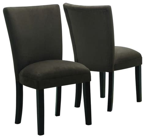 parson style chocolate brown microfiber dining chairs set