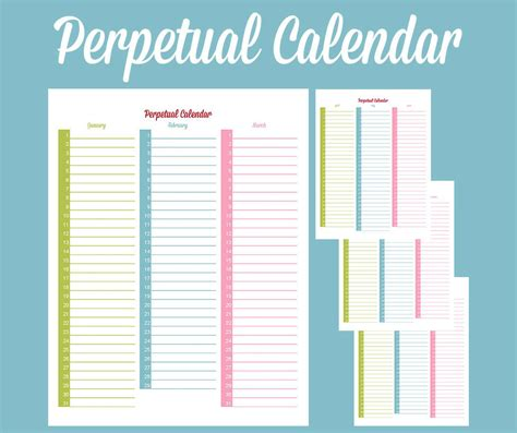 Perpetual Birthday Calendar Template by Perpetual Calendar Calendar Template Free Premium