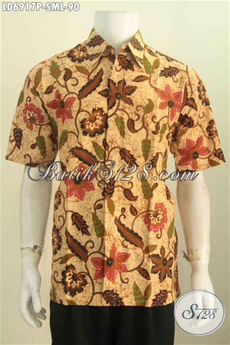 Baju Lelaki Bunga hem batik lengan pendek motif bunga warna elegan baju batik printing buat lelaki muda dan