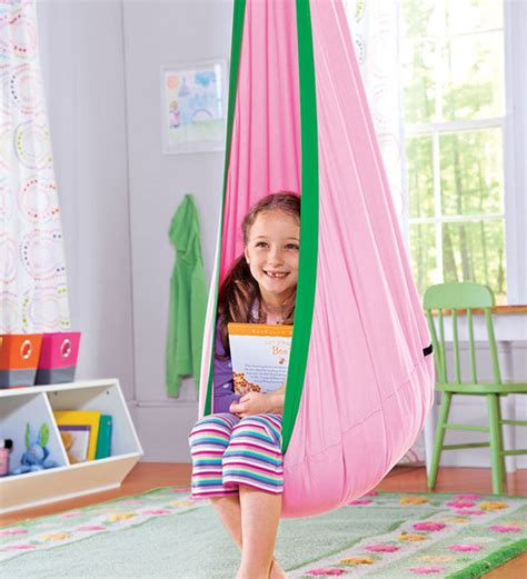 hanging swing chair for kids bedroom hugglepod children s canvas hanging egg chair