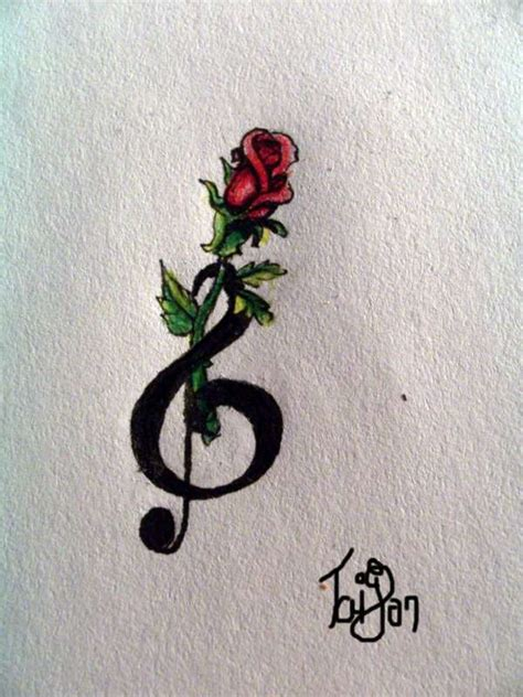 treble clef with rose tattoo tattoos design by rhonda hawley