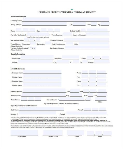 15 Credit Application Form Templates Customer Credit Check Template