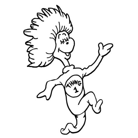 Thing One And Thing Two Coloring Pages thing 1 and thing 2 black and white clipart clipart suggest