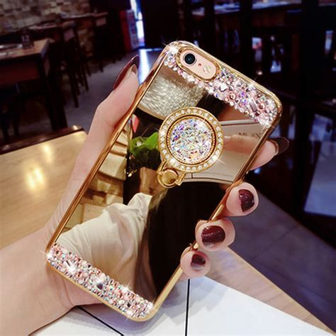 Ring Stand Original Handphone All Color lancase for iphone 6s glitter 360 rotation ring clip stand tpu mirror for