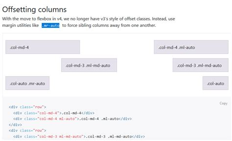 css layout offset css offsetting columns is not working bootstrap v4 0 0