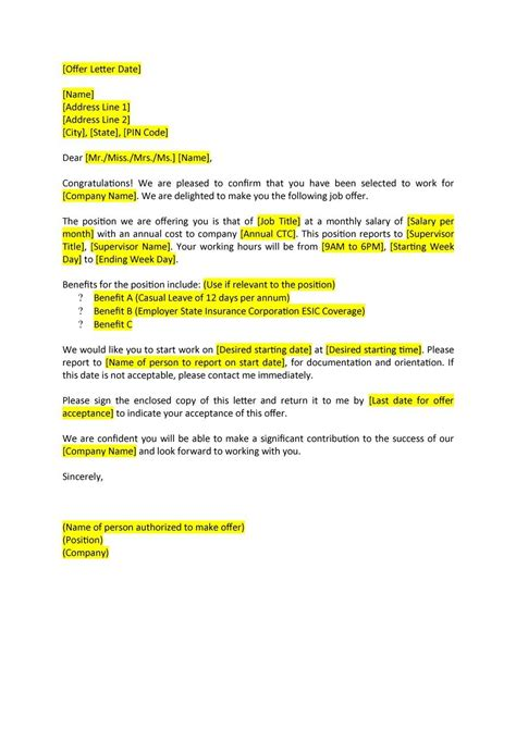 Offer Letter Benefits 44 Fantastic Offer Letter Templates Employment Counter