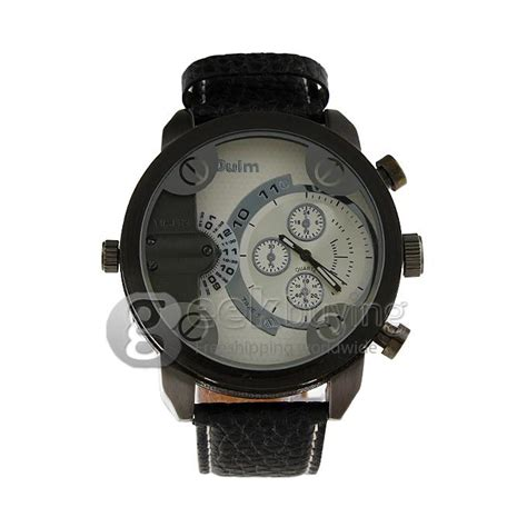 Oulm Quartz High Quality Band Fashion 3130 Leather oulm 3130 dual movt quartz with leather watchband for